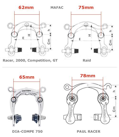 Center Pull brake specs