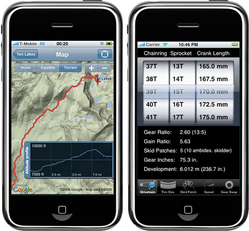 iPhone trails and gear calculator applications