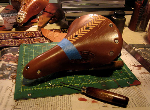 Leatherwork on a Brooks Saddle